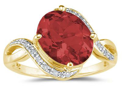 Garnet and Diamond Curve Ring, 10K Gold