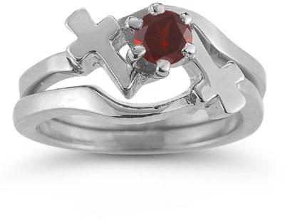 Garnet Cross Christian Wedding Ring Bridal Ring Set 14K White Gold