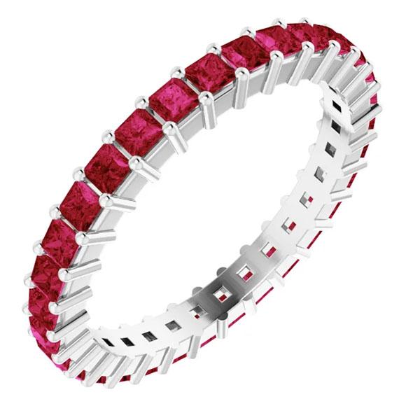 1 1/2 carat genuine ruby eternity band, 14k white gold or platinum
