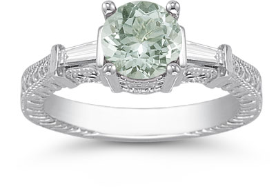 Green Amethyst and Diamond Engraved Engagement Ring, 14K White Gold