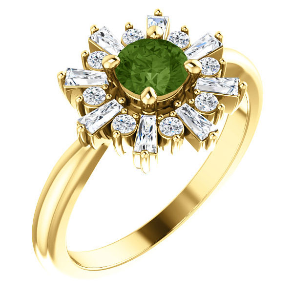 Green Tourmaline and Baguette Diamond Halo Ring, 14K Yellow Gold