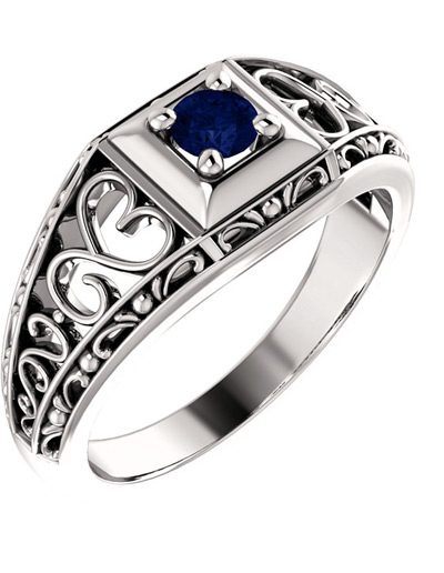 Sapphire | Heart | White | Ring | Gold | Blue | Lace