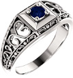 Heart Lace Blue Sapphire Ring in 14K White Gold