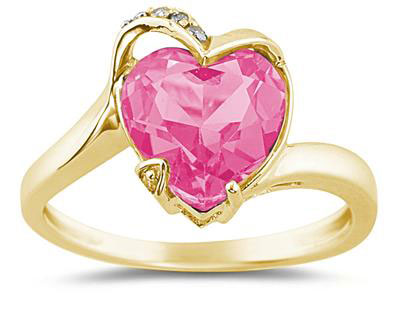 Heart-Shaped Pink Topaz Ring, 14K Gold