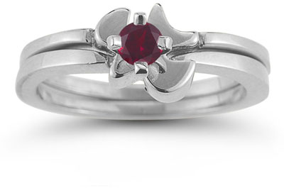 Holy Spirit Dove Ruby Engagement Ring Set, 14K White Gold