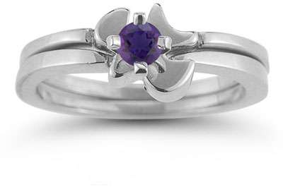 Holy Spirit Dove Amethyst Bridal Ring Engagement Set, 14K White Gold