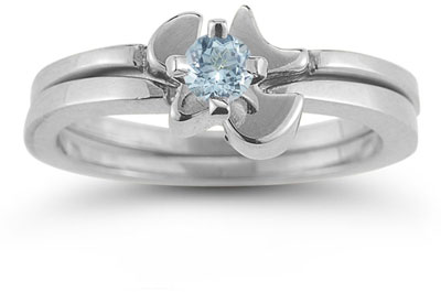 Holy Spirit Dove Aquamarine Ring Set, 14K White Gold