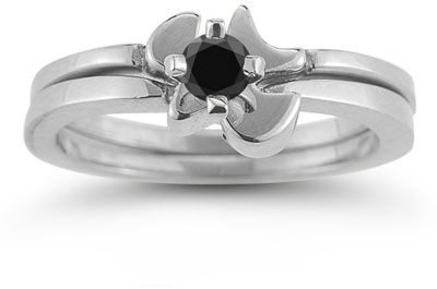 Christian Dove Black Diamond Engagement Ring Set, 14K White Gold