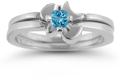 Holy Spirit Dove Blue Topaz Engagement Ring Set, 14K White Gold