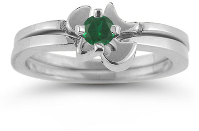 Holy Spirit Dove Emerald Engagement Bridal Ring Set, 14K White Gold