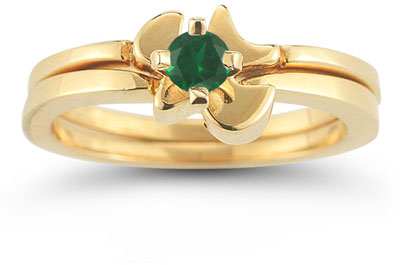 Christian Dove Emerald Engagement Ring Bridal Set, 14K Gold