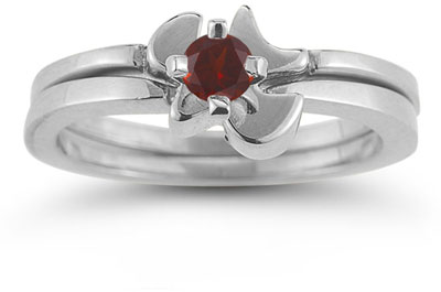 Holy Spirit Dove Garnet Engagement Bridal Ring Set, 14K White Gold