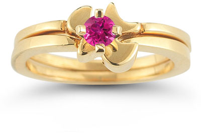 Christian Dove Pink Topaz Engagement Bridal Ring Set, 14K Yellow Gold