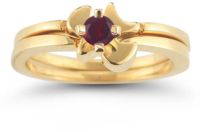 Christian Dove Ruby Bridal Ring Set, 14K Yellow Gold