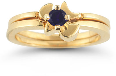 Christian Dove Sapphire Engagement Ring Bridal Set in 14K Yellow Gold