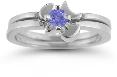 Holy Spirit Dove Tanzanite Engagement Ring Set, 14K White Gold