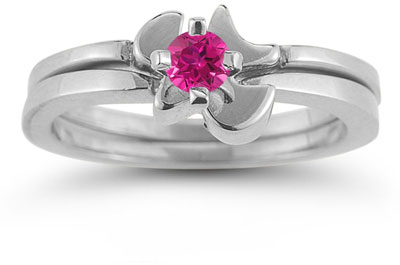 Holy Spirit Dove Pink Topaz Ring Set, 14K White Gold