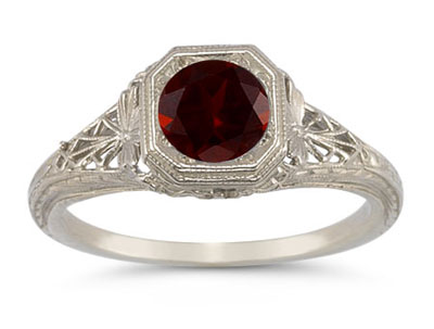 Latticed Vintage-Style Filigree Garnet Ring in 14K White Gold