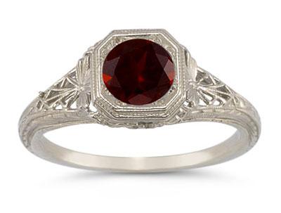 Latticed Vintage-Style Filigree Garnet Ring in 14K White Gold