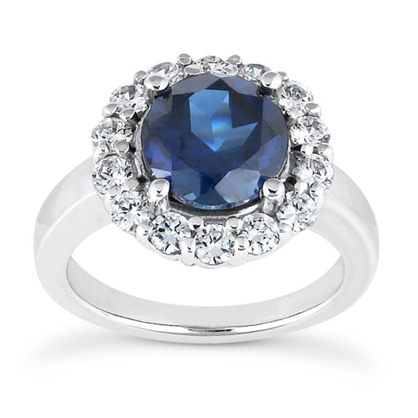 1 Carat London Blue Topaz and 1/3 Carat Diamond Halo Ring