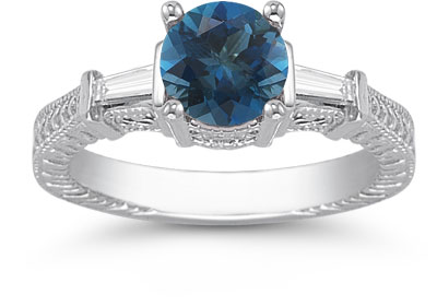 London Blue Topaz and Baguette Diamond Engagement Ring, 14K White Gold