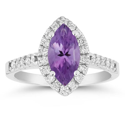 Marquise Cut Amethyst and Diamond Halo Ring, 14K White Gold