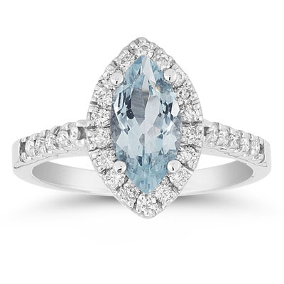 Marquise Cut Aquamarine and Diamond Halo Ring, 14K White Gold