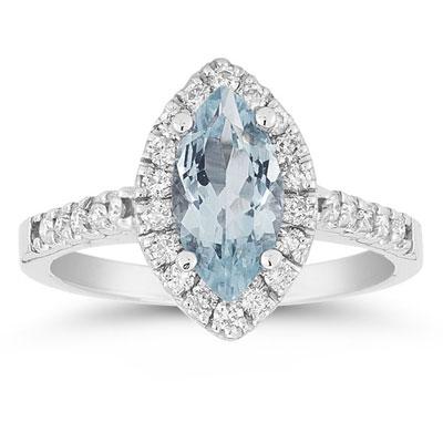 Marquise Cut Aquamarine and Diamond Halo Ring, 14K White Gold