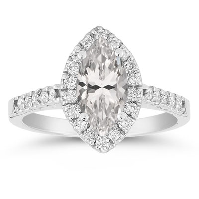 Marquise Cubic Zirconia Halo Ring, 14K White Gold