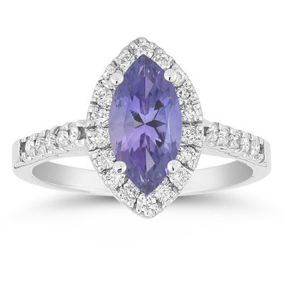 Marquise Tanzanite Diamond Halo Ring in 14K White Gold