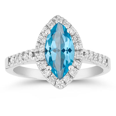 Marquise Shaped Blue Topaz and Diamond Halo Ring