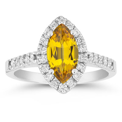 Marquise Shaped Citrine and Diamond Halo Ring in 14K White Gold