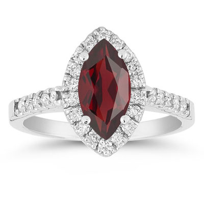 Marquise Shaped Garnet and Diamond Halo Ring in 14K White Gold