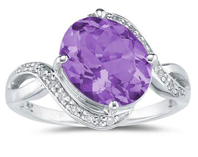 Oval Amethyst Diamond Curve Ring, 10K White Gold