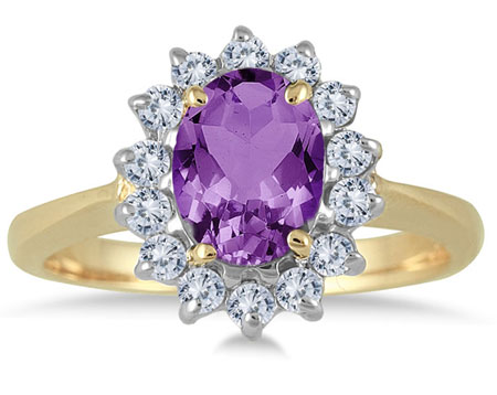 Oval Amethyst Flower Diamond Ring, 14K Yellow Gold