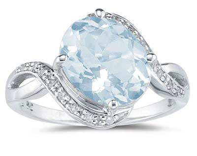 Oval Aquamarine Diamond Curve Ring, 10K White Gold