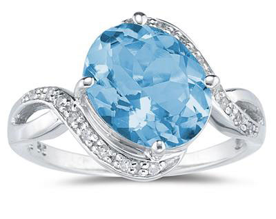 Oval Blue Topaz  Diamond Curve Ring, 10K White Gold