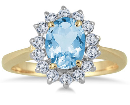 Oval Blue Topaz Diamond Ring, 14K Yellow Gold
