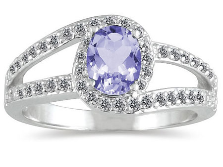 Oval-Cut Tanzanite Diamond Wrap Ring, 14K White Gold