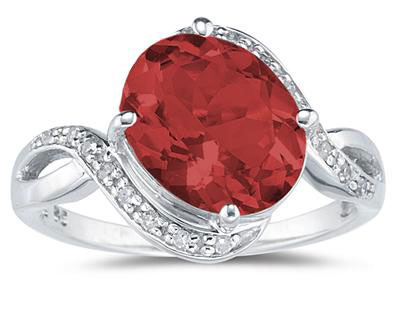 Oval Garnet and Diamond Curve Ring, 10K White Gold