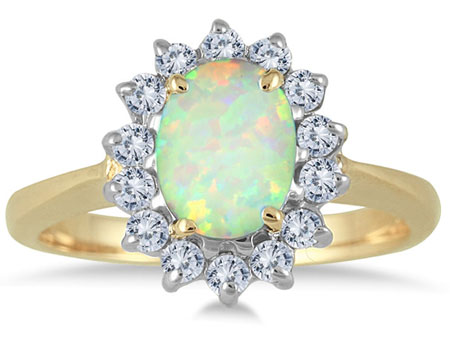 Oval Opal Diamond Ring, 14K Yellow Gold