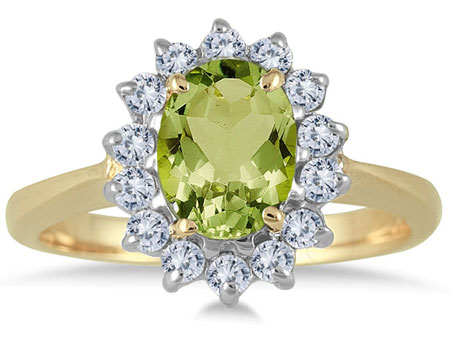 8mm x 6mm Oval Peridot Diamond Ring, 14K Gold