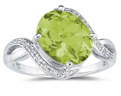 Oval-Shaped Peridot and Diamond Curve Ring, 10K White Gold