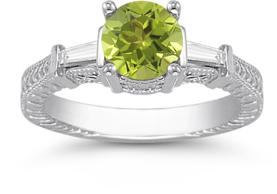 Peridot and Diamond Baguette Engagement Ring, 14K White Gold