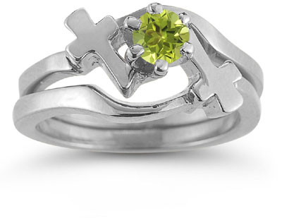 Peridot Cross Wedding Ring and Bridal Ring Set, 14K White Gold