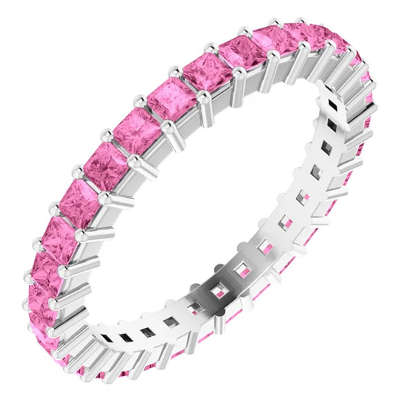 1 1/2 carat pink sapphire eternity ring band
