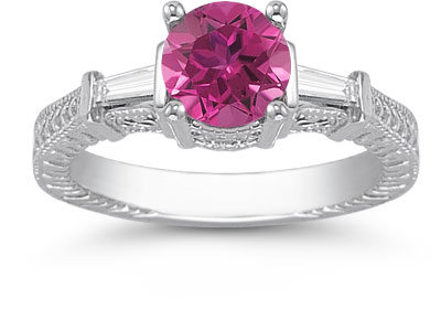 Pink Topaz and Baguette Diamond Engagement Ring