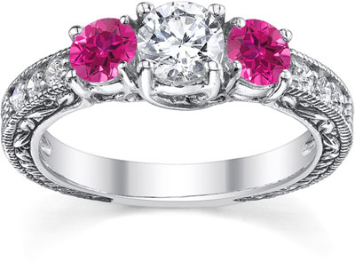 Pink Topaz and Diamond Floret Engagement Ring, 14K White Gold