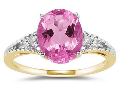 10mm x 8mm Pink Topaz and Diamond Ring, 14K Yellow Gold