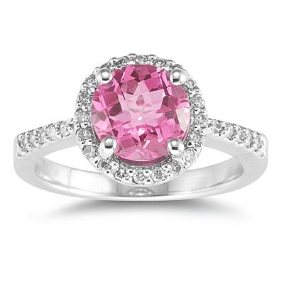 Round Pink Topaz Diamond Ring, 14K White Gold
